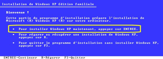 console de recuperation windows xp pro sp3